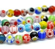 Glas Perlen Ball Gemischt FlowerDyed Über 6mm Durchmesser, Loch: Ca. 0,8mm,38cm lang, 1 strang (Ca. 65 PCs/Strand) neue