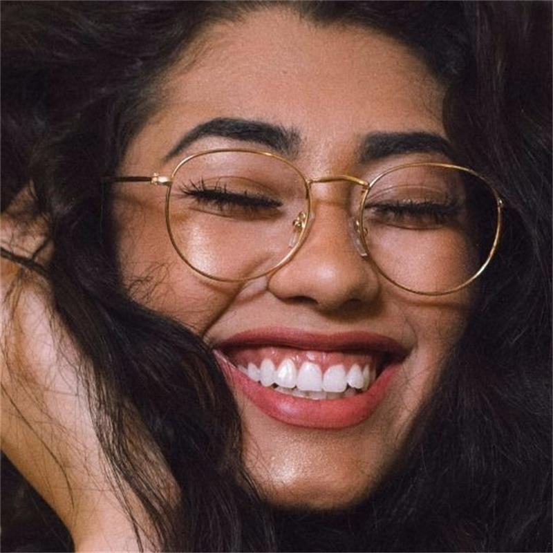 Ronda de gafas para hombre gafas Retro Vintage, Gafas de nerd gafas redondas miopía, lente claro, Marco medio de gafas Mujer