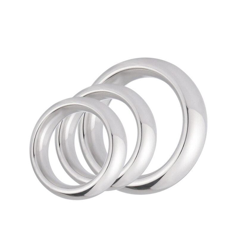 Grifo con anillo de Metal para pene de aluminio de 40/45/50mm, anillo de bloqueo para aumentar condones, retardante de eyaculación, Juguetes sexuales masculinos de castidad
