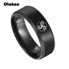 Otakoo Black Teen Wolf Logo Stainless Steel Rings movie ring 316 Titanium men and women ring Jewelry