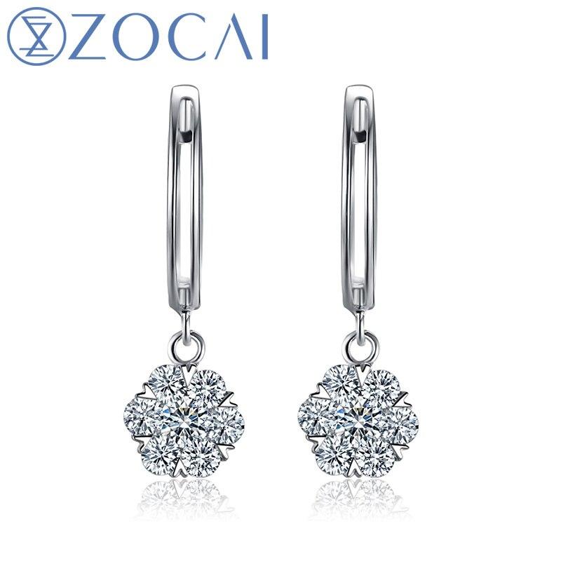 ZOCAI Earring Rear Natural diamond 0.41 CT Certified 18K gold (AU750) Earring As a Gift to her E00901