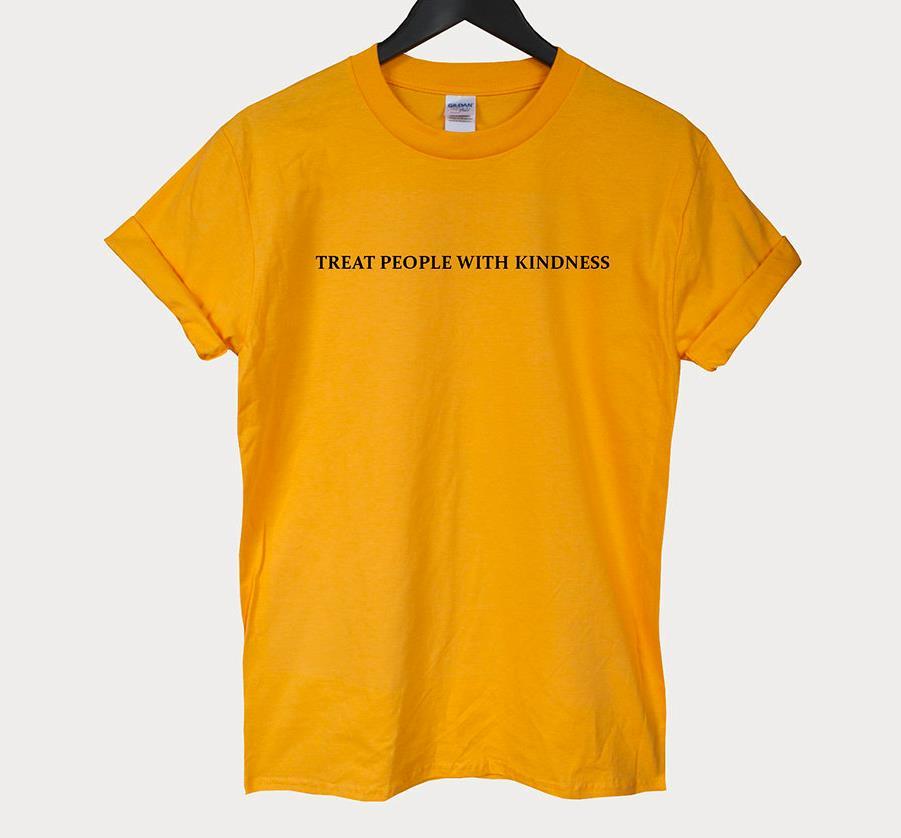 Traiter les gens avec gentillesse femmes t-shirt décontracté drôle t-shirt pour dame haut pour fille t-shirt Hipster Tumblr ins livraison directe NA-18
