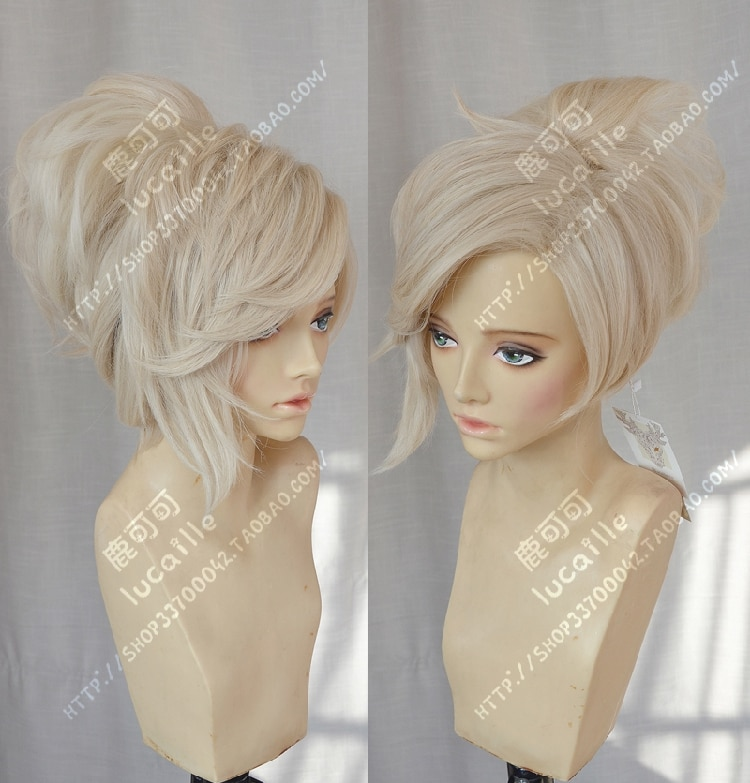 Perruque de Costume Cosplay résistante à la chaleur en queue de cheval Blonde en lin
