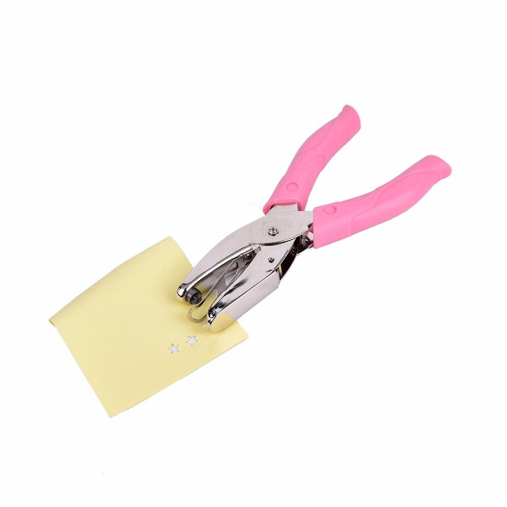 Perfurador de papel do perfurador do furo da forma da estrela à mão para o cartão de saudação ferramenta da mão do perfurador do caderno do scrapbook com aperto cor-de-rosa