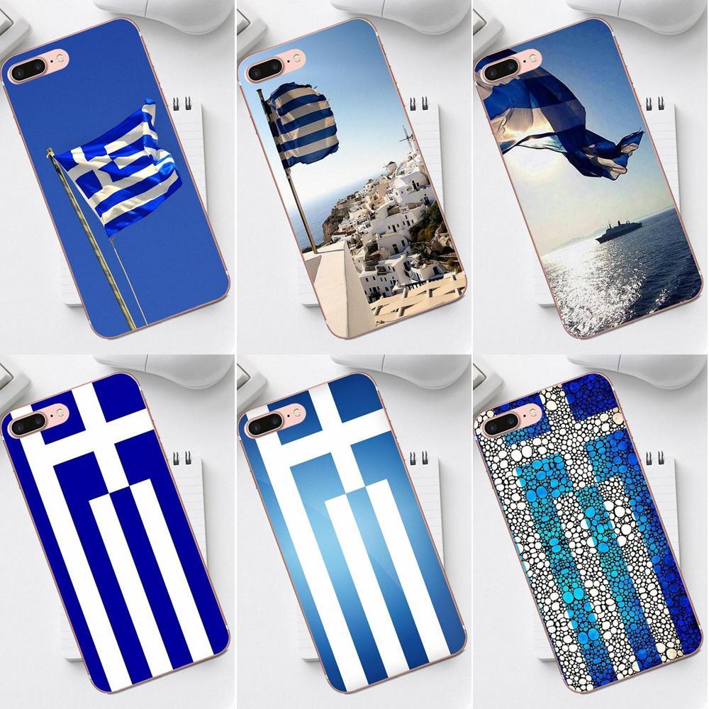 Qdowpz TPU mejores fundas para iPhone 4 4S 5 5C SE 6 6S 7 8 Plus X XS X Max XR Galaxy A3 A5 J1 J3 J5 J7 2017 griego Grecia bandera