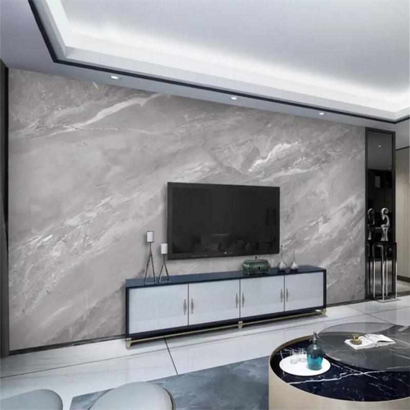 Beibehang papier peint personnalisé   Décoration murale de la maison, motif de dalle de marbre gris de haute qualité, importé en marbre et pierre sur le mur