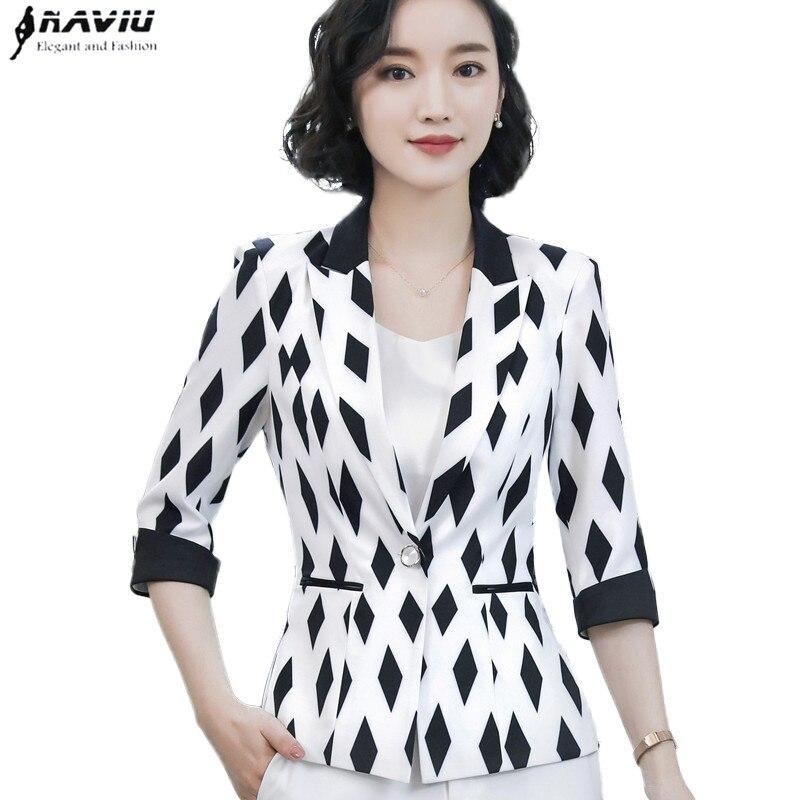 Fashion black white jacket women formal slim temperament half sleeve blazer office ladies spring summer plus size coat