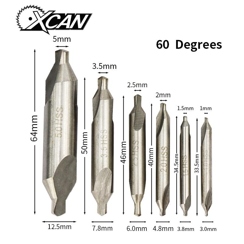 XCAN HSS Combined Center Drills 60 Degree Countersinks Angle Bit Set 1.0mm 1.5mm 2.0mm 2.5mm  3.5mm 5mm Metal Drill Bit