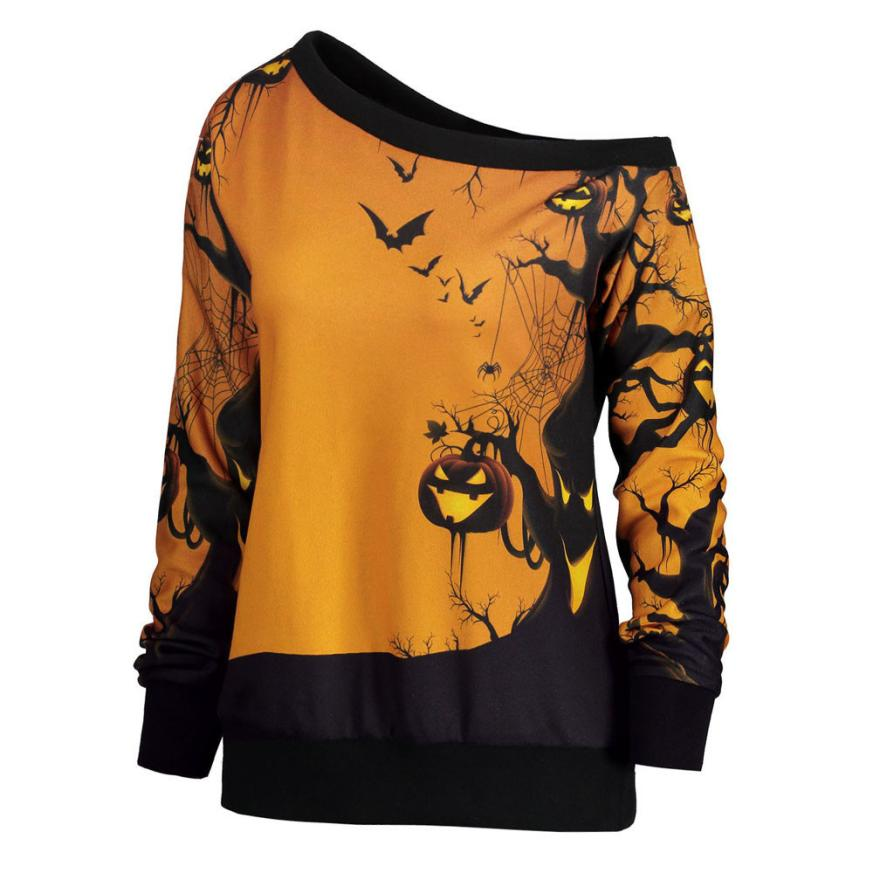 2018 Women Halloween Party Skew Neck Pumpkin Print Sweatshirt Jumper Pullover Tops Dropshipping  sweatshirt female  August 18