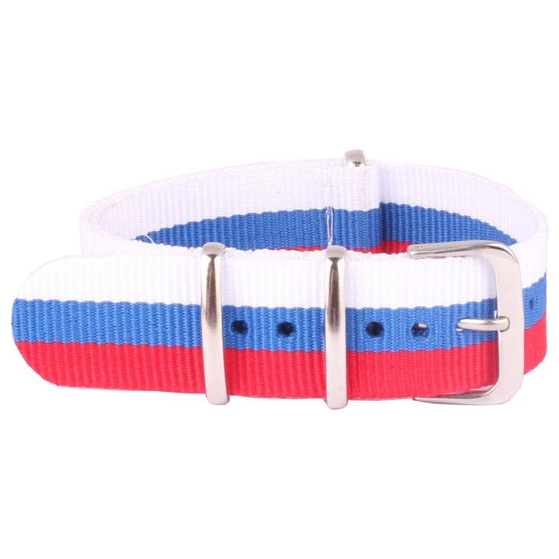 20 mm Cambo Similar Russian Flag Nato Woven Fiber watchband 20mm Nylon Watch Bracelet Strap Wristwatch Band Buckle Canvas fabric