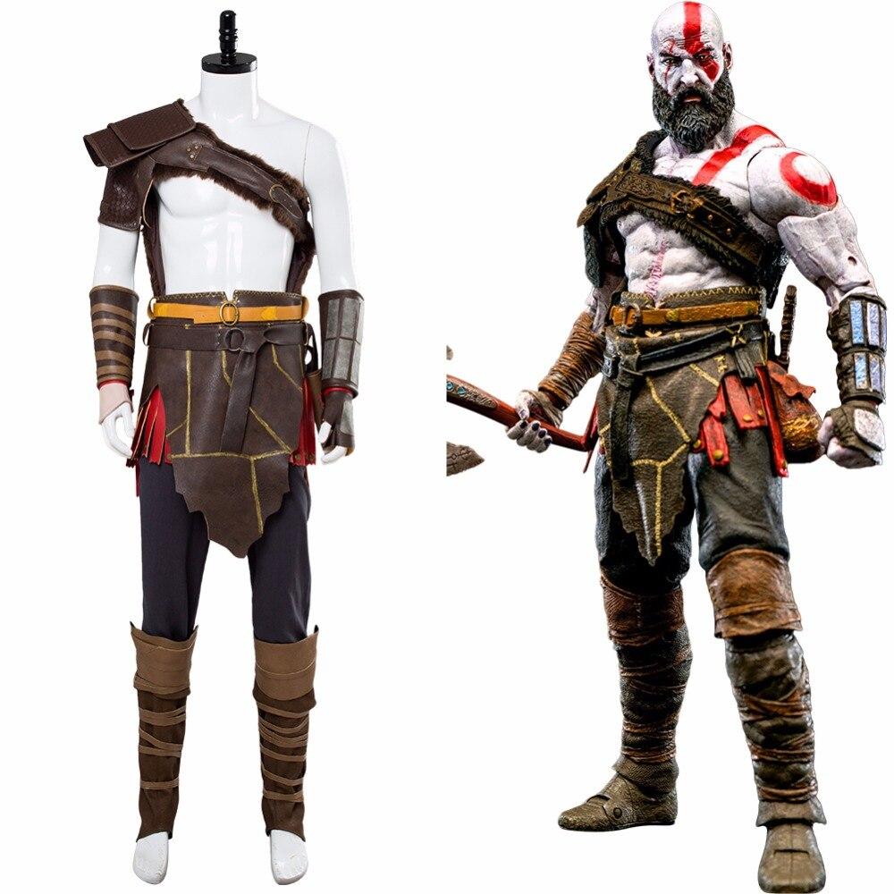 Deus da guerra 4 kratos cosplay traje nordic spartan batalha terno conjunto completo halloween masquerade kratos costume feito