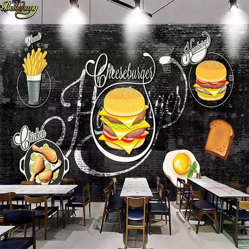 beibehang Custom wallpaper mural hand-painted hamburger wall background wall papers home decor papel de parede 3d wallpaper beibehang custom wallpaper 3d retro diamond wall living room bedroom restaurant wall papers home decor papel de parede wallpaper