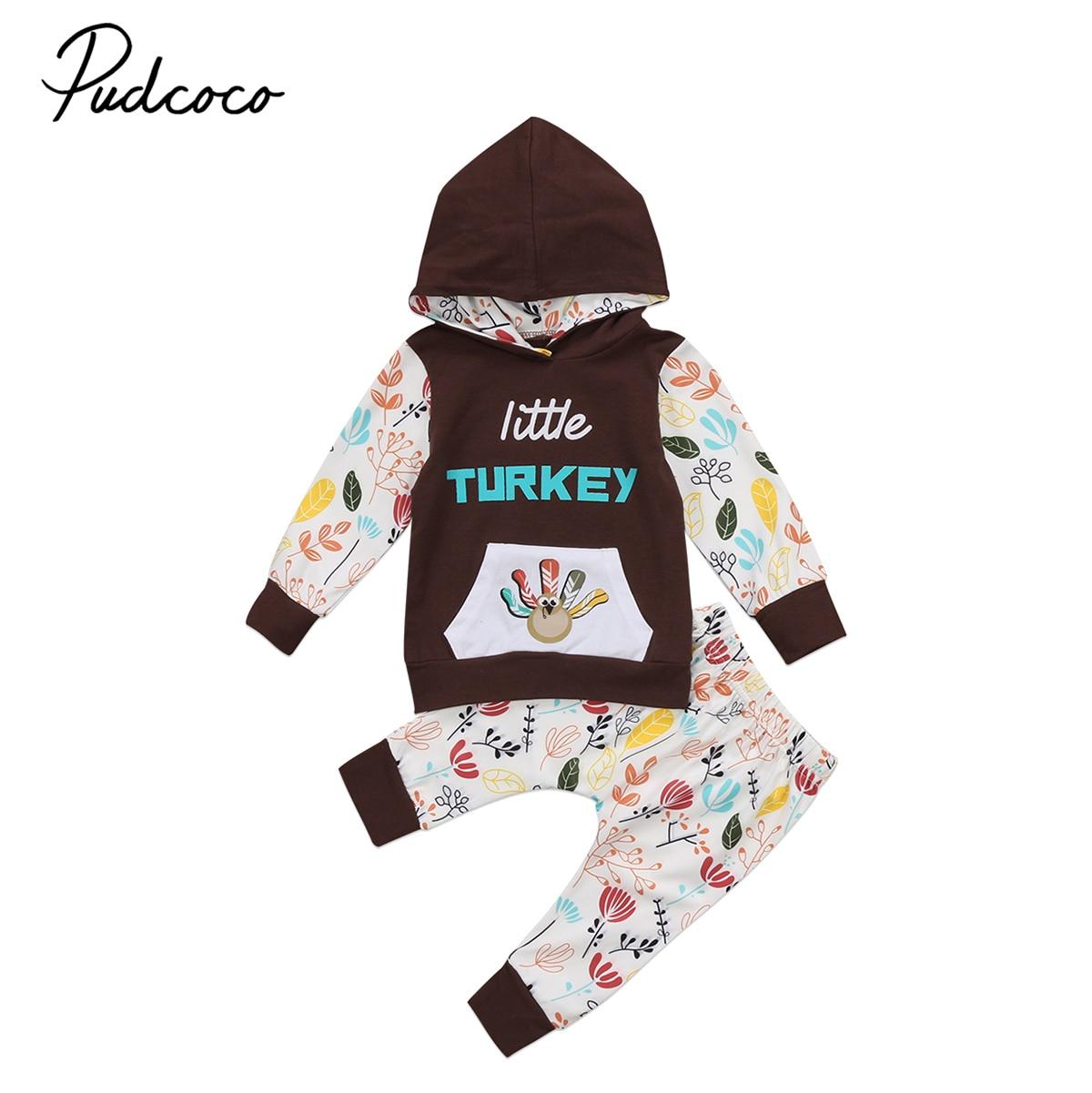 2 uds. Conjunto de ropa de bebé pequeño pavo bonito 2018 nuevo bolso grande de manga larga con capucha para niños y niñas Tops pantalones largos conjunto de trajes para niños pequeños