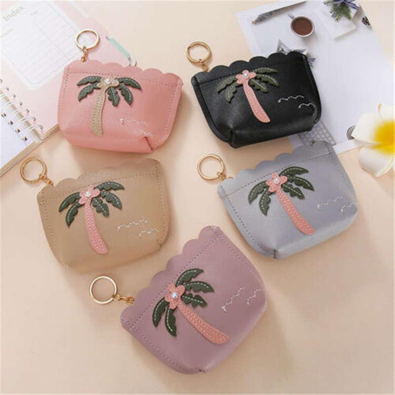 Las mujeres de coco Mini moneda tarjeta monedero cremallera cartera Mini bolso de embrague