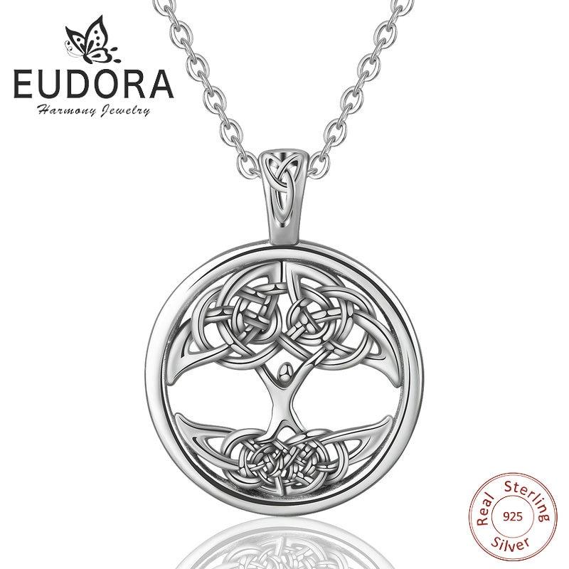 EUDORA Unique Sterling Silver Tree of life Necklace Celtics Knot Pendant Silver 925 jewelry BoyFriend Gift  arbre de vie collier