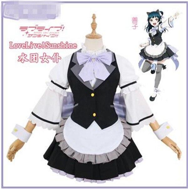 Disfraz de Cosplay de Anime Aqours, vestido de Yoshiko Tsushima de amor con luz del sol en vivo, sirvienta bonito vestido de blanco y negro, juegos completos A