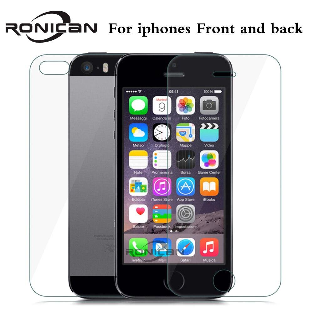 Protector de pantalla frontal + trasero para iPhone 5, 5s, SE, 4, 4S, 6, 6s, 7, 8 Plus, 2 unidades por lote, película antirroturas para iPhone X