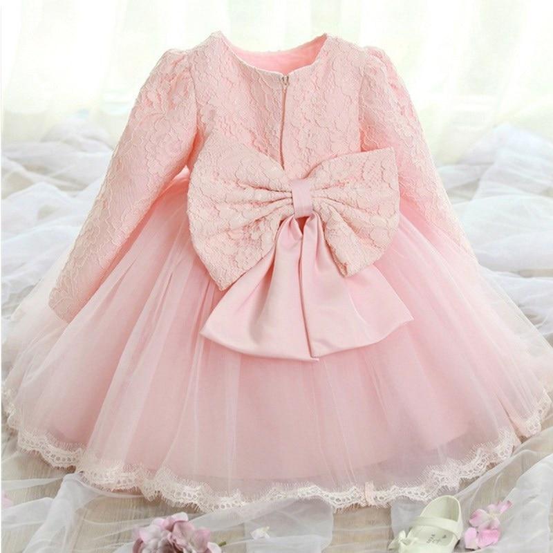 Cute Baby Dresses for Girls Birthday Baby Long sleeves Princess Dress For Girl Baptism Gown Girls 1 Year Vestido Infantil 12M