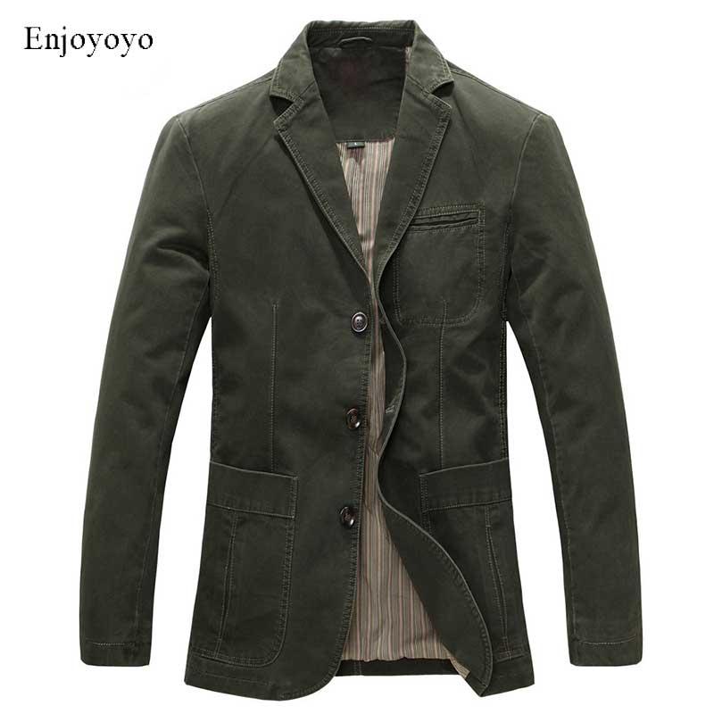 Spring Military Jacket Blazers Men 100% Cotton Casual Blazer Men's Suit Coat Male Blazer Masculino J