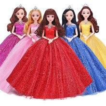 4D Augen Lange Kleider Mädchen Puppen Kinder Spielzeug Beweglichen Körper 12 Gelenke 30cm Schöne Prinzessin Puppen mit Hochzeit Kleid