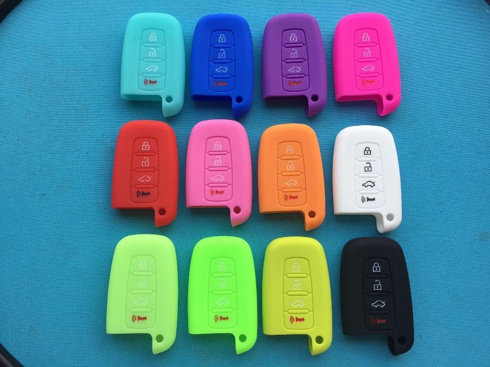 1pc 4 Botón de silicona caso para Hyundai Elantra Sonata HEV para Kia Soul Sportage coche inteligente Fob cubierta en blanco