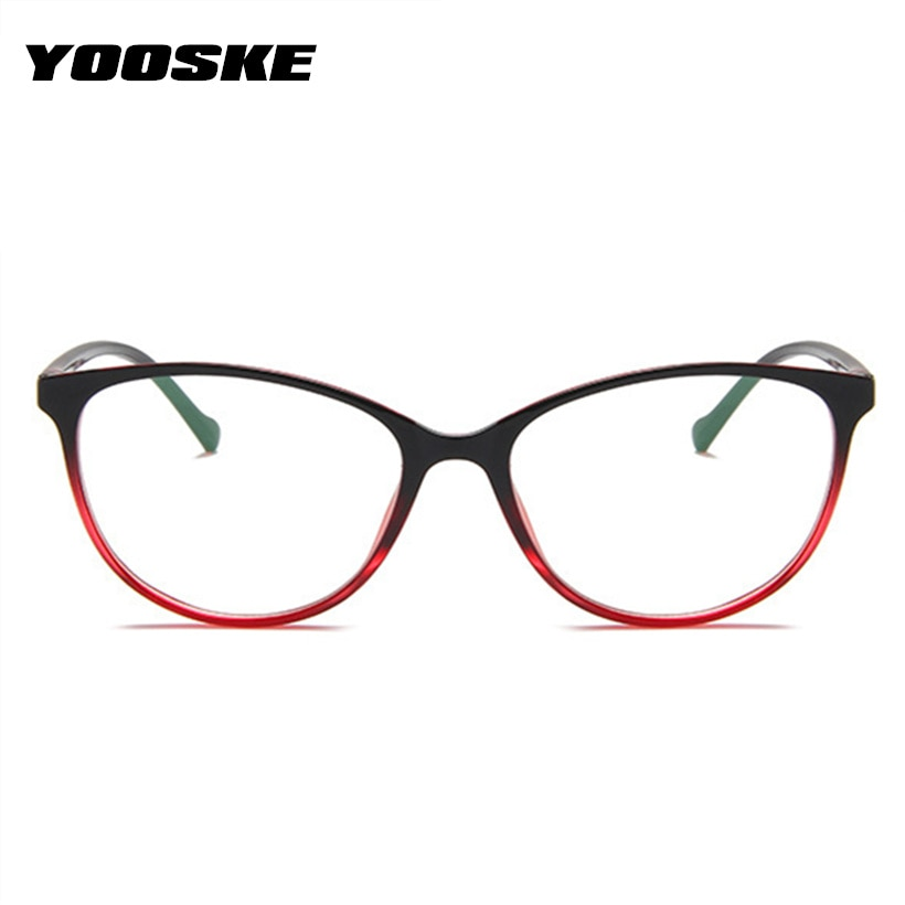 YOOSKE Cat Eye Fashion Brand Design Glasses Frames for Women Spectacle Myopia Eyeglasses Men's Computer Transparent Glasses