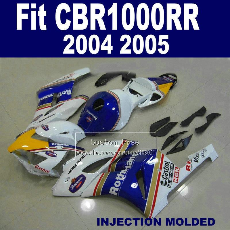 Personalizado 100% kit de injeção carenagem para 2004 2005 honda cbr1000rr cbr 1000 rr 04 05 cbr 1000rr rothmans carenagens kits