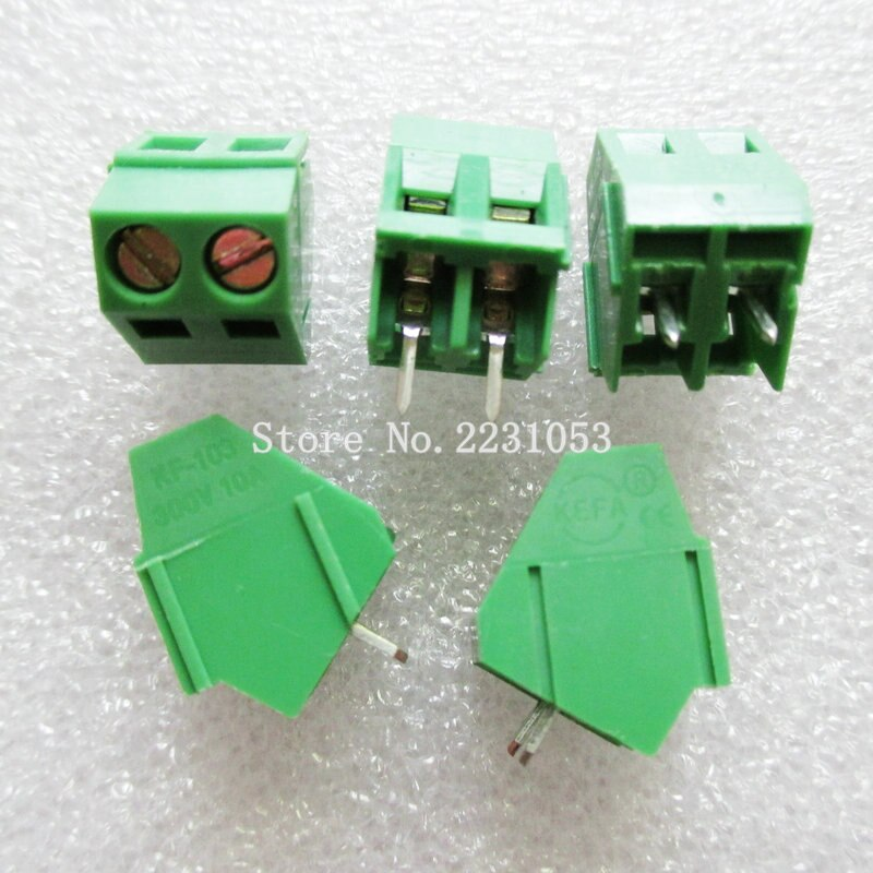 10PCS/LOT Terminals KF103-5.08-2P KF103-2P 300V 10A Screw 2Pin 5.08mm Straight Pin PCB Screw Terminal Block Connector 22-12A WG