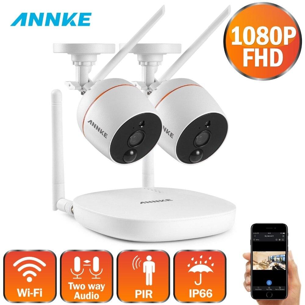 ANNKE 1080P 4CH FHD Mini Drahtlose Video Überwachung System Wifi 2 stücke 2MP IP Kamera Zwei-wege Audio PIR Home Security CCTV Kit