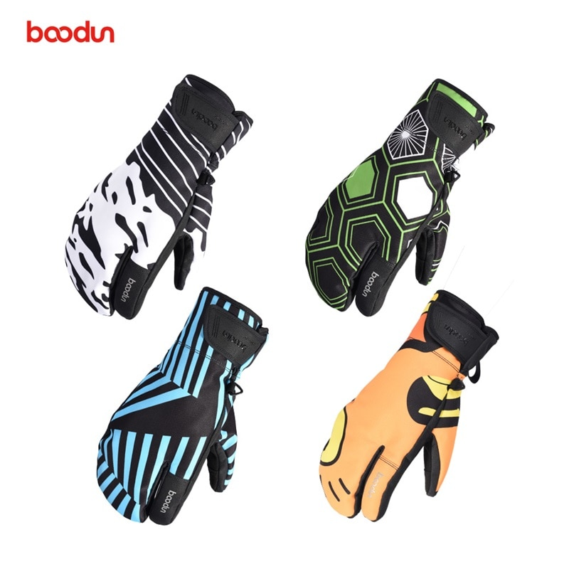 Boodun Profession Outdoor Sport Men Women Full Finger Keep Warm Waterproof Threaded Breathable Touch Ski Skate Snowboard Gloves