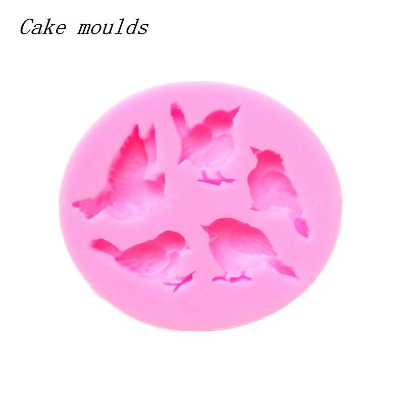 Molde de silicona K033 cinco pájaros molde de hornear Fondant torta herramientas de decoración, molde de chocolate