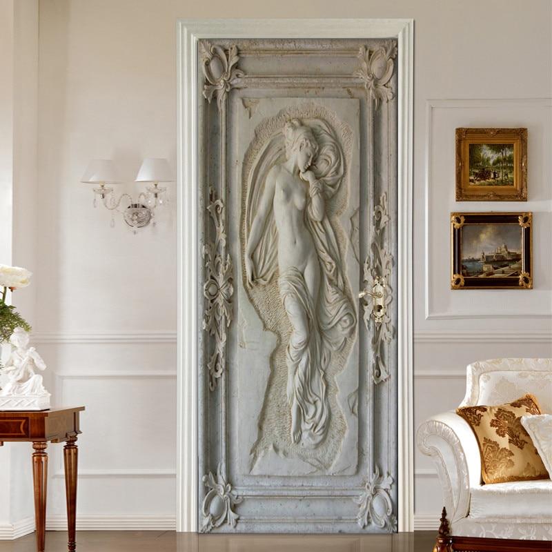 European Style 3D Embossed Figure Statue Art Wall Mural Living Room Bedroom Door Sticker Self-adhesive Wallpaper Papel De Parede