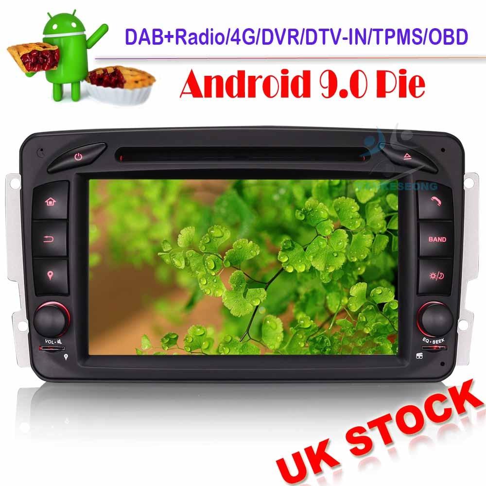 DVD DAB + Autoradio Sat Nav   Android 9.0, Autoradio GPS pour Mercedes Benz C/G/CLK classe W203 W209 Viano Vito WiFi DVR OBD