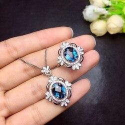 Conjuntos de jóias de topázio rosa Natural gem anel de gemstone natural Pingente de prata 925 Elegante Flor Geométrica mulheres do partido fine jewelry
