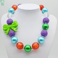 new 2020 hot sale christmas style kids girls green blue purple red chunky bubblegum necklace with bow for children jewelry