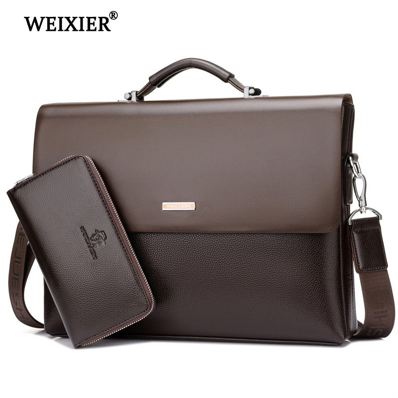 WEIXIER Brand Men High Quality Microfiber Synthetic Leather Tote Fashion Male Bag Messenger Business Handbag Laptop Shoulder
