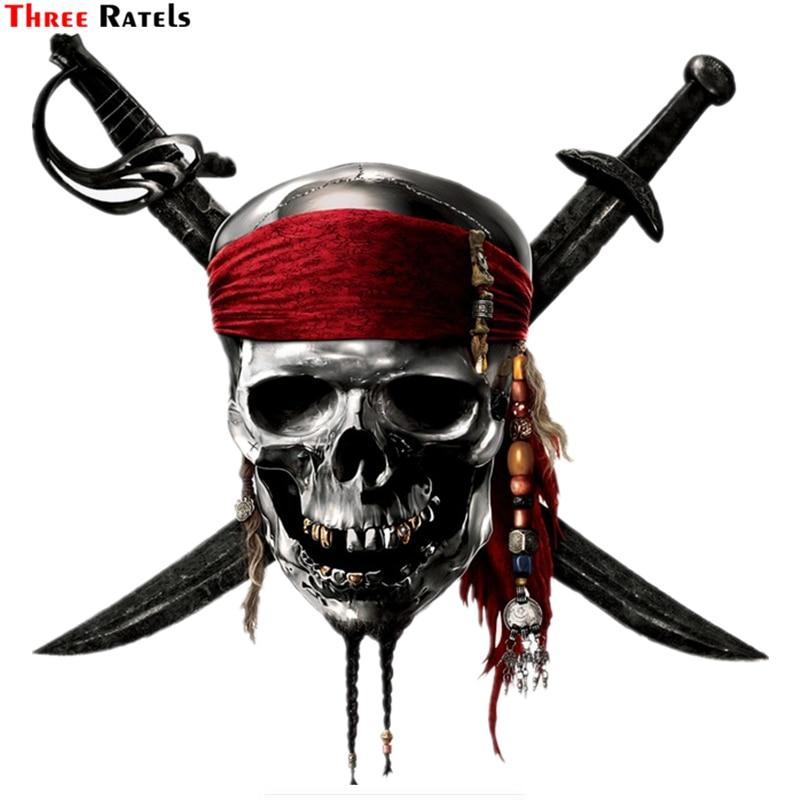 Three Ratels TZ-1336#18.4*18см череп пирата с мечами прикольные наклейки на авто наклейка на машину автонаклейка стикеры