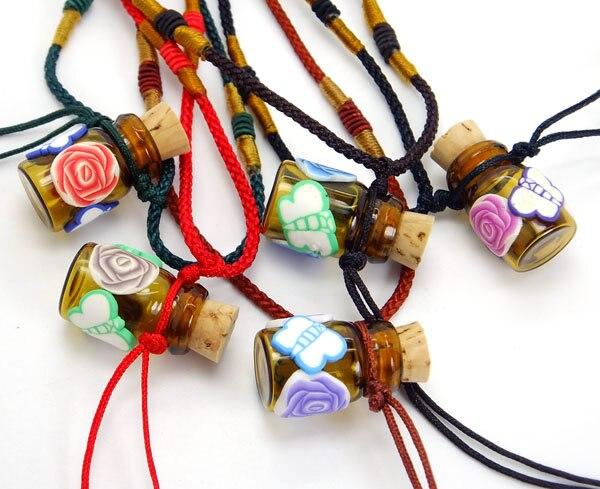 5 Stücke Mini Schmetterling Blume Aromatherapie Ätherisches Öl Glasflasche Anhänger Halskette Frauen Parfüm Pullover Lange Halskette