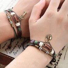 2 pièces/ensemble amoureux clé Bracelet serrure et clé Couples Bracelet en cuir son & son amitié bracelets breloque bijoux CMQ9068