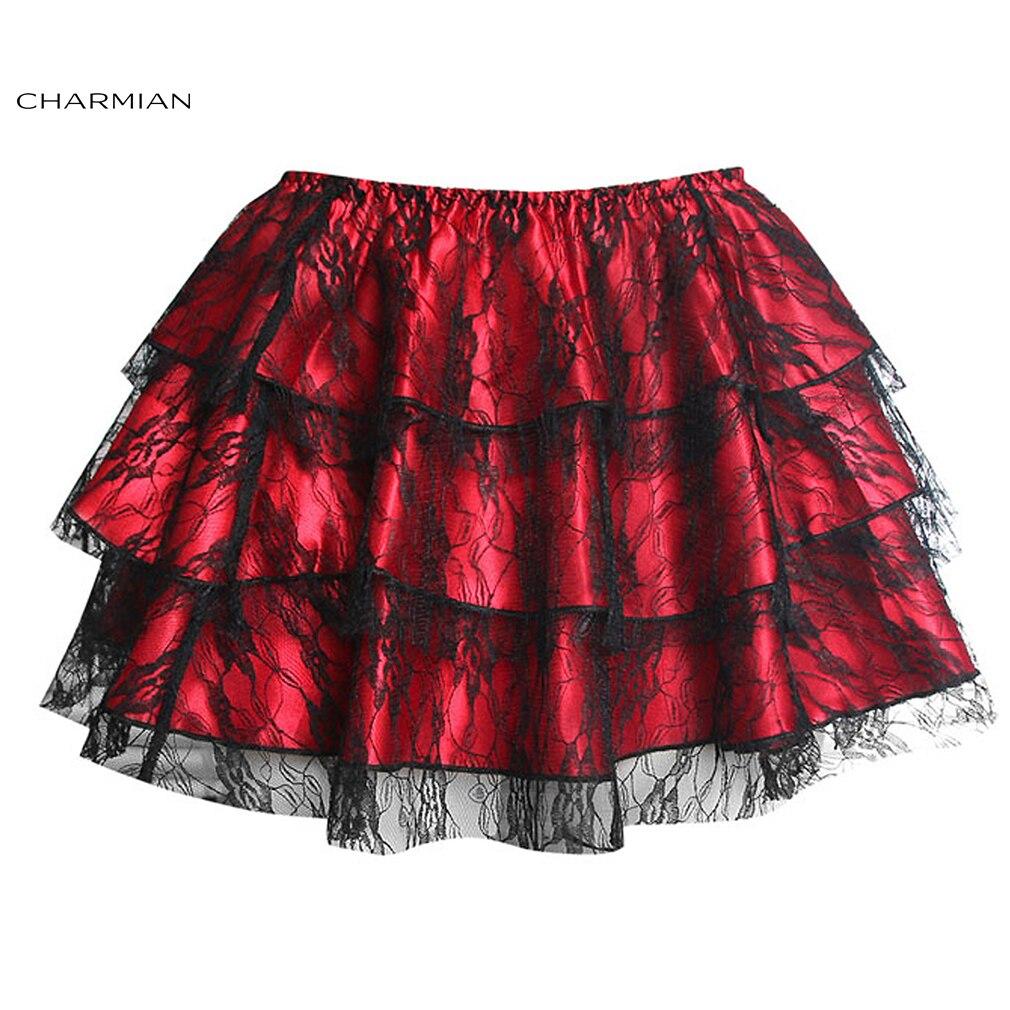 Charmian Womens Summer Sexy Steampunk Black Floral Lace Tutu Skirt Layered Dancing Petticoat Mini Skirt