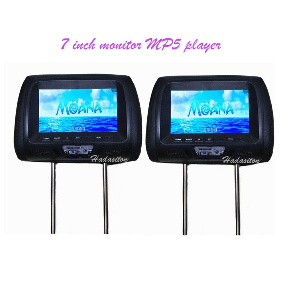 "2 uds Universal 7 ""Pantalla de monitor para reposacabezas de coche MP4 MP5 jugador soporte AV/USB/SD, entrada/FM/construido en altavoz auriculares/auriculares"