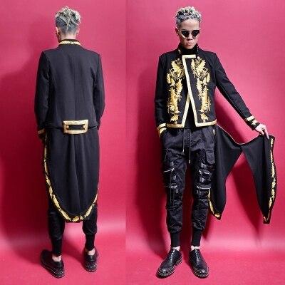 Esmoquin desmontable de hoja dorada de Vintage real para hombre con envío gratuito, chaqueta de esmoquin de cola de golondrina/baile/evento/puesta en escena/talla asiática