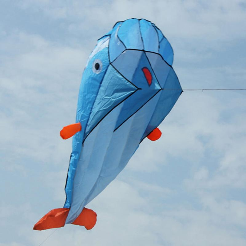 Kids Funny 3D Huge Dolphin Kite Fun Kids Outdoor Sports Dolphin Flying Kites Toy Easy to Fly Parachute Educational Flying Kite
