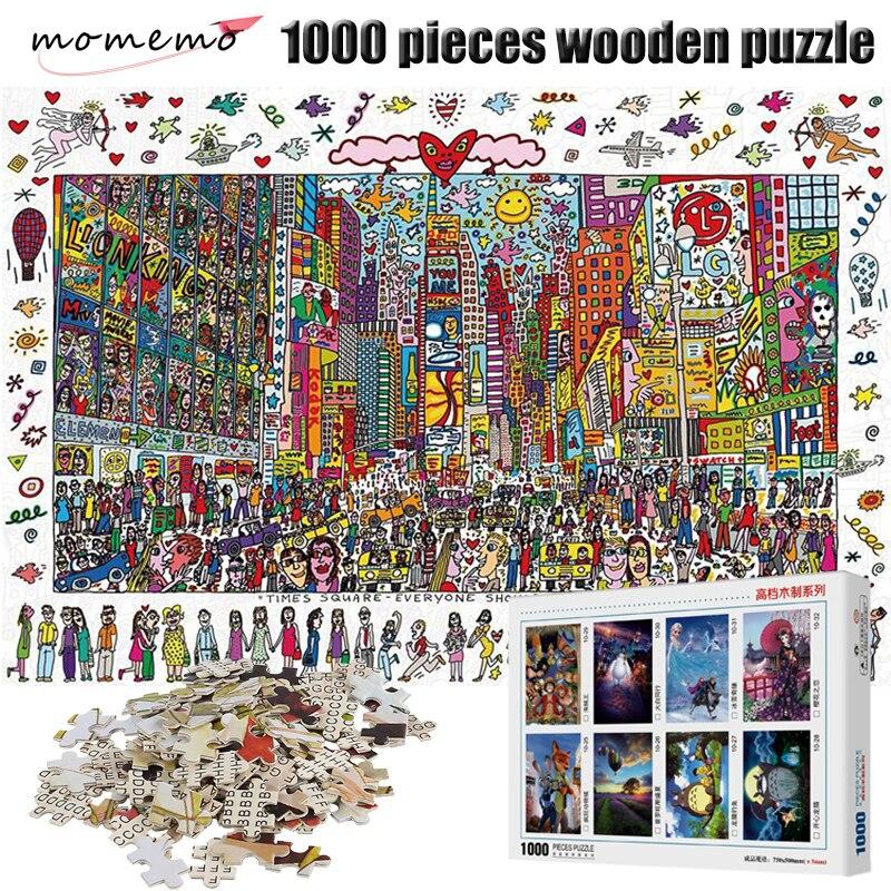 Rompecabezas cuadrado MOMEMO Times de 1000 piezas, rompecabezas de madera con dibujo animado para adultos, rompecabezas de 1000 piezas, juguetes de Navidad para niños