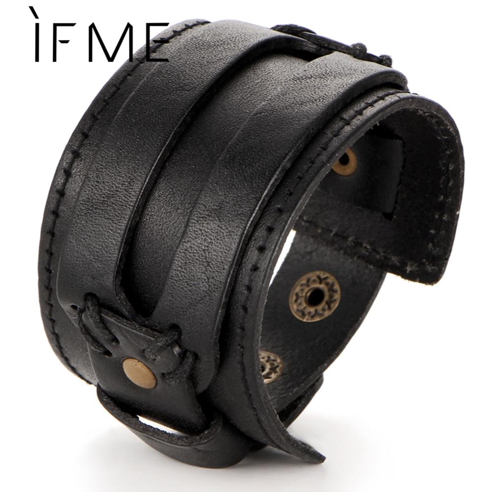 IF ME модный мужской кожаный браслет, Открытый браслет с манжетами и веревкой, двойной широкий черный коричневый цвет, винтажные панк унисекс ювелирные изделия