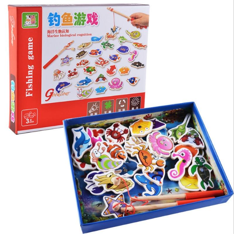 Новые детские Ранние развивающие игрушки 32 шт. рыба деревянная Магнитная