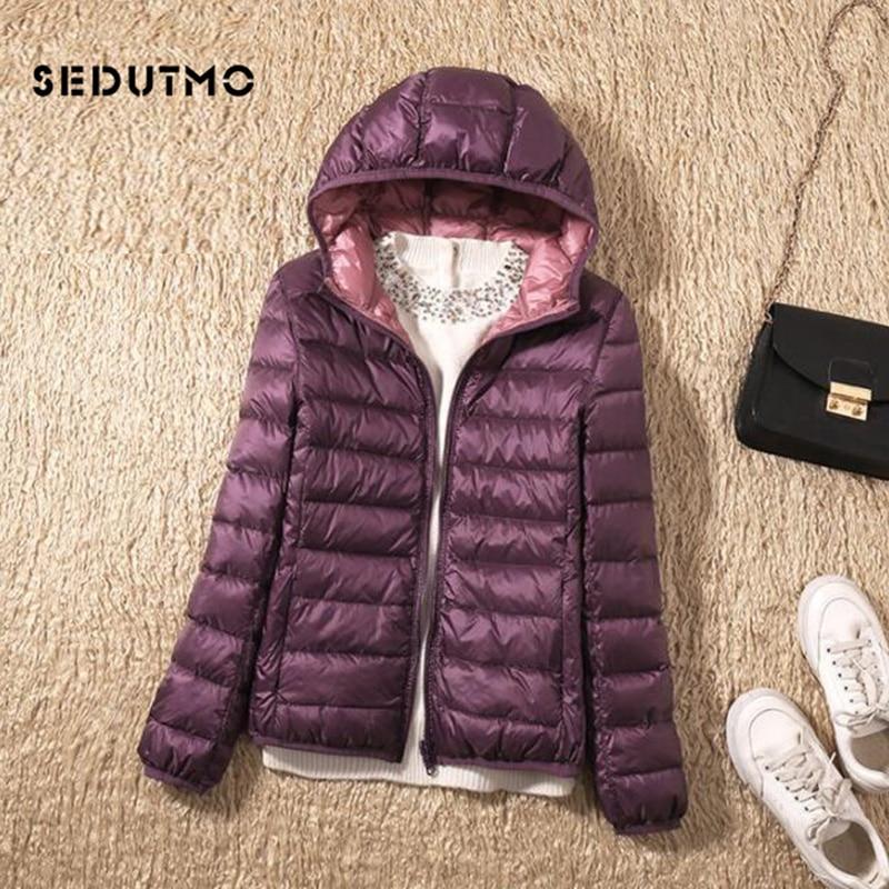 SEDUTMO hiver grande taille 3XL duvet de canard manteau femmes Ultra léger à capuche vestes deux côté porter manteau printemps bouffant veste ED602