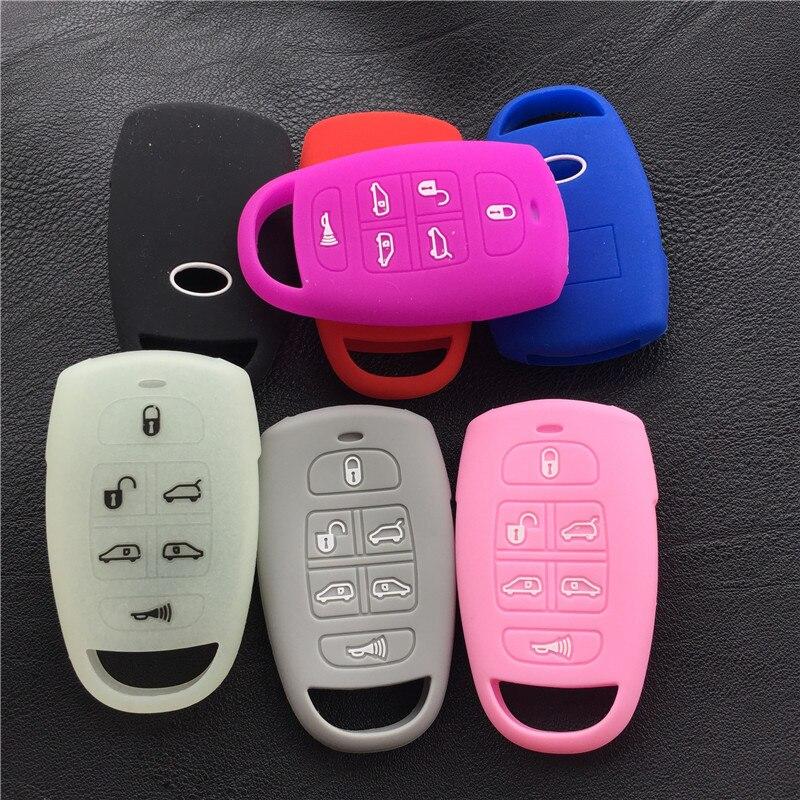 Funda de silicona de goma para llave de coche para hyundai para Kia Sedona Mini Van 6 botones funda de llave cubierta de shell holder