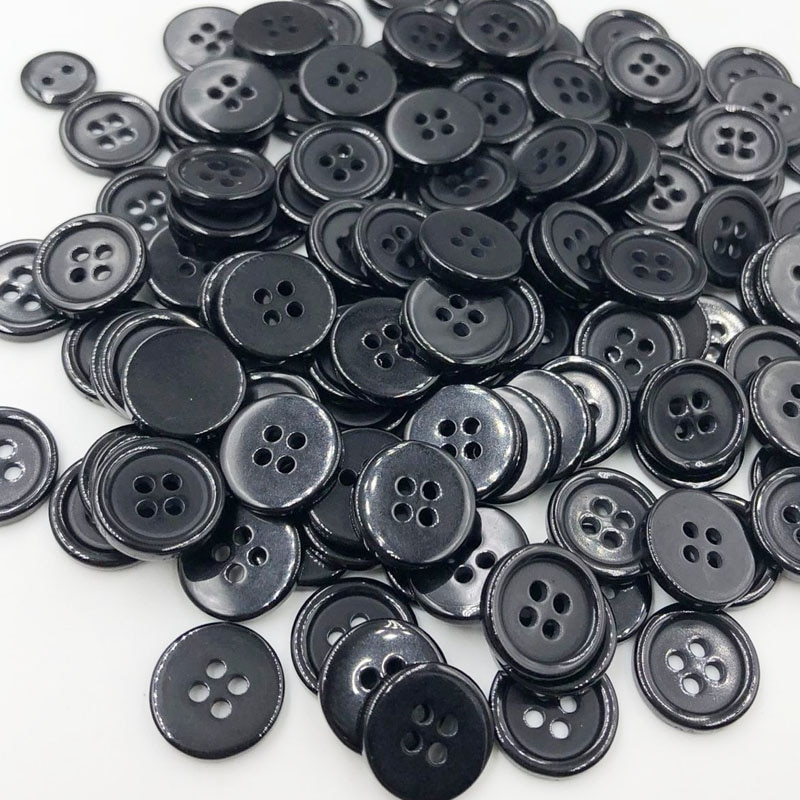 100 pces 15mm cor preta 4 furos flatback botões de plástico camisa botões vestuário acessórios de costura ph243