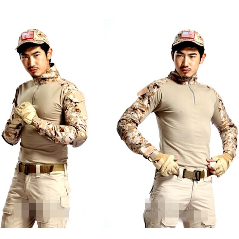 Camiseta táctica de camuflaje del desierto, uniforme del ejército militar, camisetas de manga larga para hombres, camiseta de camuflaje para exteriores, camisa BDU de combate Airsoft